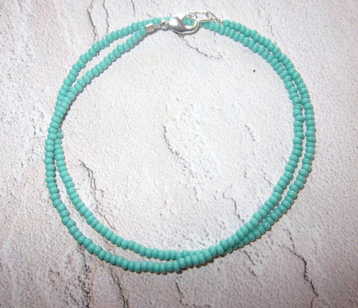 Turquoise Blue Super Tiny Seed Bead Necklace / Choker