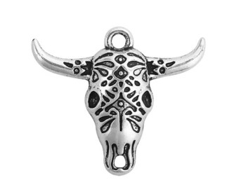 Sterling Silver BULL COW Skull Head Bead Dangle Homard européen Clip On Charm