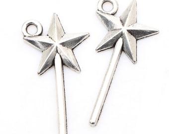Bulk 100 Star Wand Charm Antique Silver Tone 25 x 13 mm - ts1382