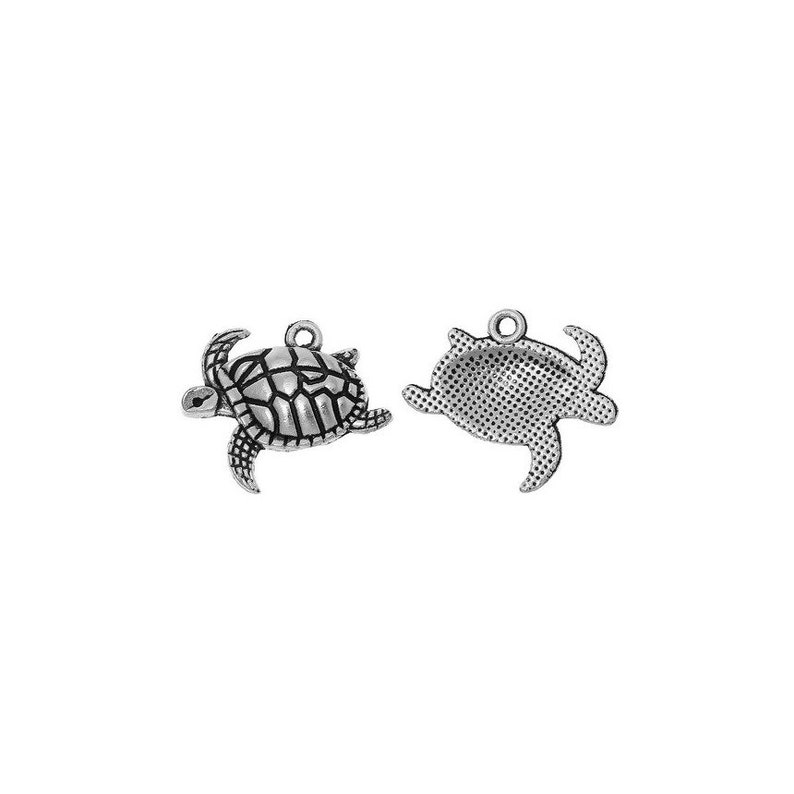 4 Turtle charms antique silver tone FF88