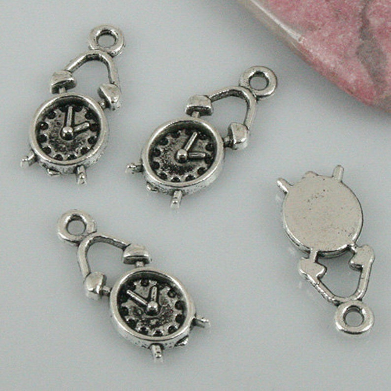f872c3b06312 10 Alarm Clock Charms 19 x 9 mm Antique Silver Tone Metal US Seller ts338
