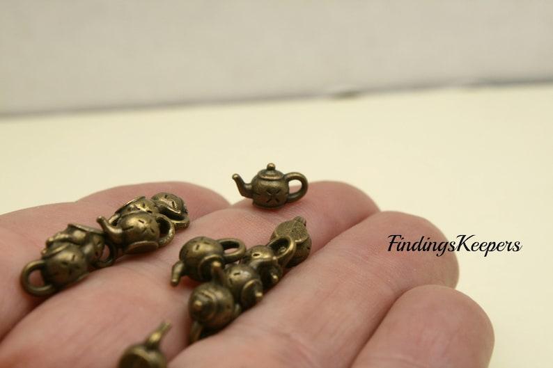 Bulk 50 Teapot Charms 3 Dimensional 10 x 6 mm Bronze Tone US Seller bz416