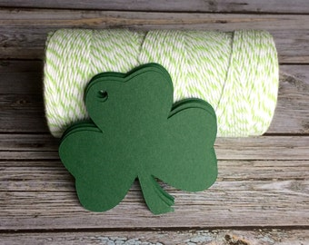 Blank Shamrock Tags - Clover Tags - St. Patrick's Day Tags - Shamrock Tags - St. Paddy's Day Tags - Shamrock Favor Tags - Die Cut Shamrock