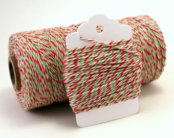 Christmas Gift Wrap - Christmas Bakers Twine - Red and Green Twine - Christmas Tag String - Holiday Twine - Christmas Card Twine - 4-ply