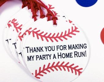 Baseball Party Favor Tags - Custom Baseball Tags - Baseball Gift Tags - Personalized Baseball Tags - Baseball Birthday Tag - Baseball Labels