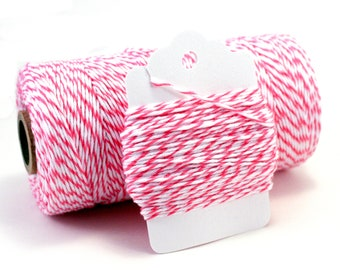Dark Pink Twine - Thin Baker's Twine - Striped Pink Bakers Twine - Bright Pink Cotton String - Baby Shower Twine - Raspberry Divine Twine