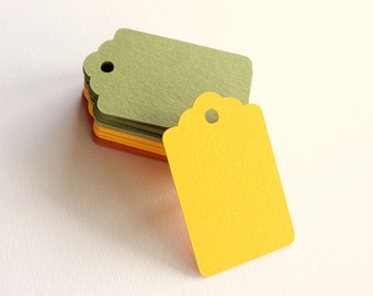 """Small Blank Tags - Blank Scallop Gift Tags - Thick Cardstock Tags - Hole Punched Hang Tags - Colorful Wedding Wish Tree Tags - 2 x 1.25"""""""