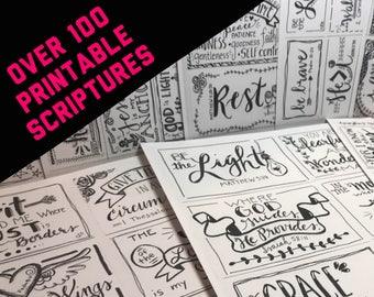 BEST SELLER - 100+ Downloadable PDF Assorted Scripture cards - inspirational cards - scripture memory - scripture cards - digital download