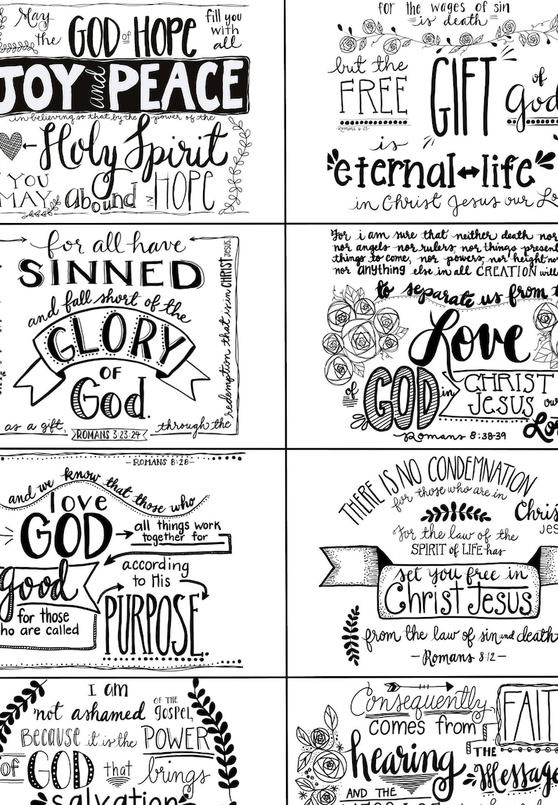 Romans Printable Black and White Scripture cards, inspirational cards,  Christian faith gifts, scripture memory, Bible verse, Jesus Christ