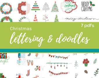 Christmas lettering and doodles practice traceable inspiration learn to letter doodling Downloadable PDF  digital download