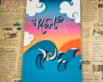 Blue rest a while waves ocean Christian faith Blank lined journal hand lettering Writing scriptures Practice Doodle notebook diary