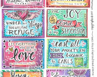 Printable Scripture cards-watercolor #1-hand drawn- inspirational cards -bible verse- encouragement scripture cards