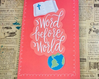 Word before world Christian faith Blank lined journal hand lettering Modern Calligraphy Writing scriptures Practice Doodle notebook diary