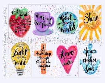 PRINTABLE Scripture Bible verse cards watercolor splatter paint anchor soul love another cup overflows light world