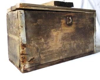Old Handmade Rustic Wood Storage  Box,  Primitive Wood Chest,  Toolbox