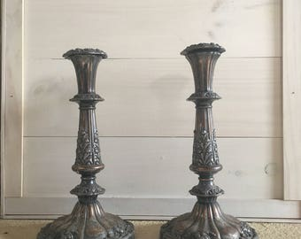 Silver Plate Candle Holders