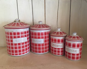 French Enamelware Canister Set