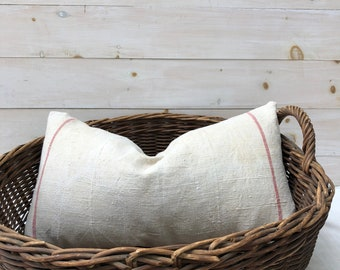 Antique Linen Pillow - 14 x 24