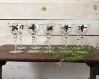 Hand Painted Bird Glasses