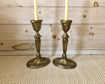 Pewter and Brass Candlestick Holders