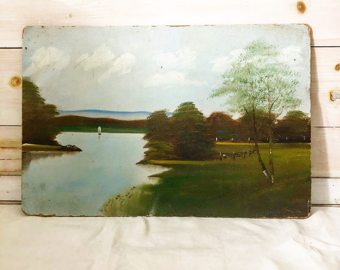 Featured listing image: Lake Landscape Painting