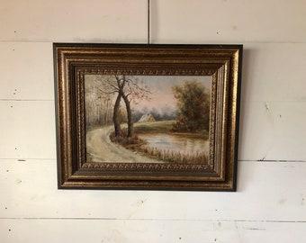 Cabin Landscape Painting
