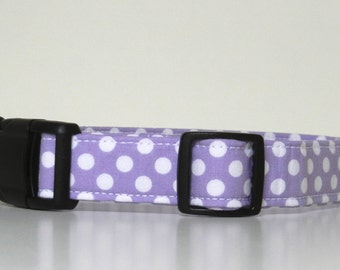 Lavender Purple Polka Dot Dog Collar Wedding Accessories Easter Collar Made to Order