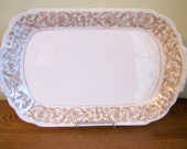 Vintage French China T V Limoges Brown and Gold Transferware Ironstone Rectangle Platter