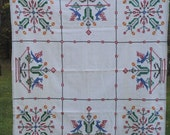 Vintage Fiesta Tablecloth, Linen Farmhouse, Country Fabric