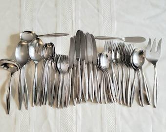 Vintage Flatware Soup Spoons 1847 Rogers Bros Stainless Mid Century Sleek Atomic Design New Never Used Minimalist Kitchen Vintage Silverware