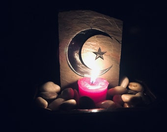 Vintage Crescent Moon Star Altar Pot, Wiccan Witchcraft Altar Supply,