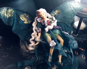 Vintage Teal Hanging Fairy Doll, Porcelain and Organza, Glittered Gold Wings