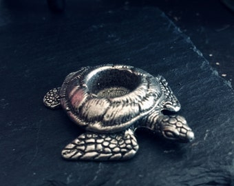 Vintage Pewter Sea Turtle Mini Chime Candle Holder, Cone Incense Holder