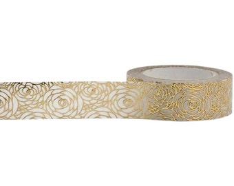 Gold Rose Foil Washi Tape    Japanese Washi Paper