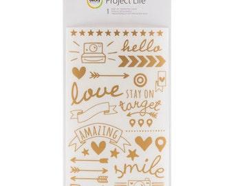 Project Life Gold Foil Rub On Transfer Sheet