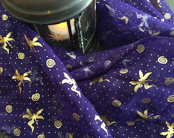 Vintage Fairy Altar Cloth, Reversible Silver and Gold Fairies, Purple Scarf