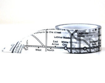 London Underground Map Washi Tape -- 20mm Wide -- Black and White Paper Tape
