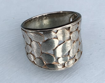 Wide Cuff Ring in Sterling Silver, Boho Vintage Ring  - U.S. Size 5 & 7.25 Available (uk J + 1/2, O + 1/2).