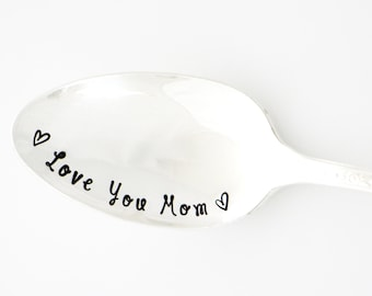 Love You Mom Spoon. Hand Stamped Silverware for Mother's Day Gift idea for Mom, by Milk & Honey.
