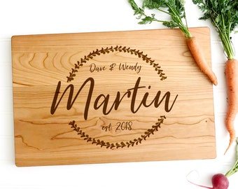 Personalized Cutting Board. Custom Wooden Cheese Board, Chopping Block. Wedding Gift, 5th Anniversary Present. Engraved Cherry Wood Board.