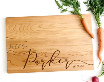Personalized Cutting Board, Cheese Board Engraved with Names and Date for Engagement Gift, Anniversary and Wedding Present. milk and honey