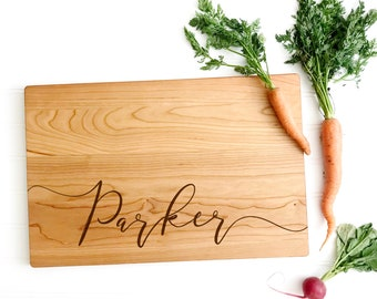 Last Name Board. Personalized Cutting Board for custom wedding gift, engagement or anniversary present. Can be ANY name or word.