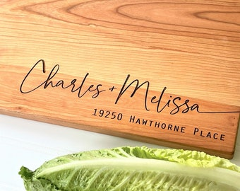 New Home Gift, Personalized Cutting Board with Custom Address for First Home Warming, Moving Away, Realtor Closing Gift for New Homeowner.