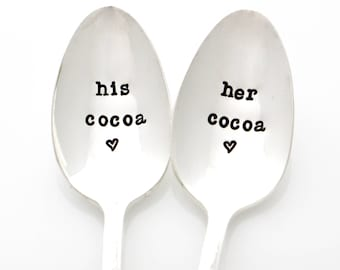 Christmas Gift for Couples, His and Her Cocoa Spoons. Holiday Gift, Hand Stamped spoons by Milk & Honey ®