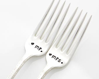 Wedding Forks, Mr and Mrs. Vintage Silverware for couples engagement present, as featured by Martha Stewart Weddings