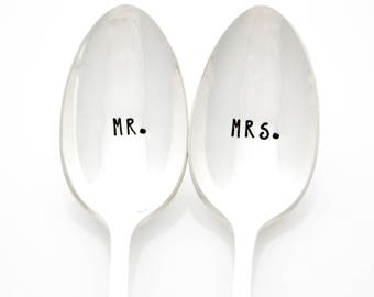 Mr and Mrs coffee spoons. Newlywed Gifts, Stamped Spoons. Newly Engaged Gifts by Milk & Honey.