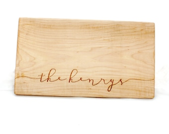 Personalized cutting board. Last Name Wood Cutting Board. Custom Wedding Gift. Anniversary Gift. Customized board. As Seen on The Ellen Show