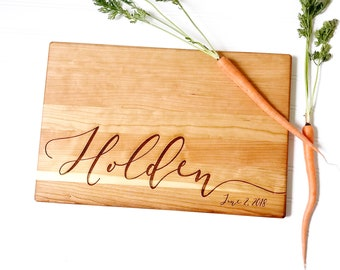 Wooden Cutting Board, Engraved with Last Name and Date. Personalized Kitchen Decor. Custom Wedding Gift, Anniversary Present.