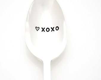 XOXO with a Heart. Coffee or tea spoon. Hand stamped silverware by Milk & Honey