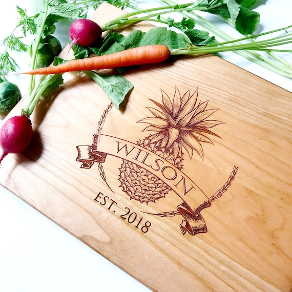 Personalised Engraved Pineapple Wedding Anniversary Chopping Cheese Board